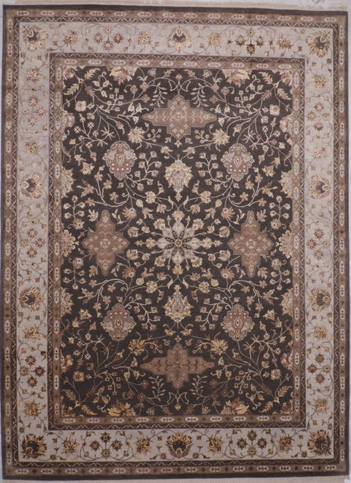Indian Jaipur Grey Rectangle 9x12 Ft Wool And Raised Silk