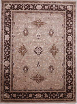 Indian Jaipur Brown Rectangle 9x12 ft Wool and Raised Silk Carpet 112567