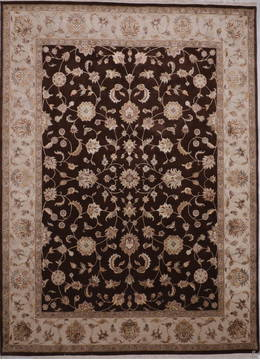 Indian Jaipur Brown Rectangle 9x12 ft Wool and Raised Silk Carpet 112578