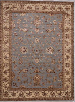 Indian Jaipur Blue Rectangle 9x12 ft Wool and Raised Silk Carpet 112582