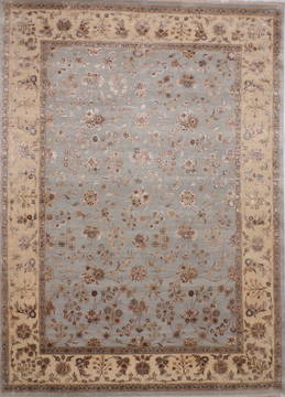 Indian Jaipur Blue Rectangle 9x12 ft Wool and Raised Silk Carpet 112590