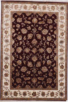 Indian Jaipur Red Rectangle 6x9 ft Wool and Raised Silk Carpet 112596