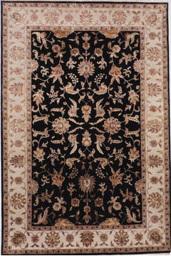 "Jaipur Black Hand Knotted 6'2"" X 9'3""  Area Rug 905-112597"