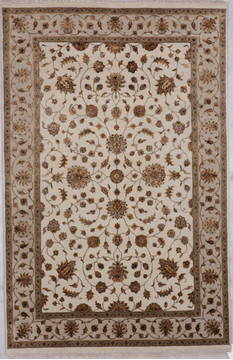 Indian Jaipur White Rectangle 6x9 ft Wool and Raised Silk Carpet 112598