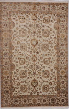 Indian Jaipur Beige Rectangle 6x9 ft Wool and Raised Silk Carpet 112601