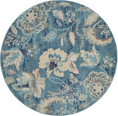 "Nourison Tranquil Blue Round 5'3"" X 5'3"" Area Rug  805-115010"