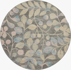 "Nourison Tranquil Grey Round 5'3"" X 5'3"" Area Rug  805-115030"