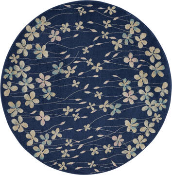 "Nourison Tranquil Blue Round 5'3"" X 5'3"" Area Rug  805-115062"