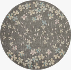 "Nourison Tranquil Grey Round 5'3"" X 5'3"" Area Rug  805-115070"