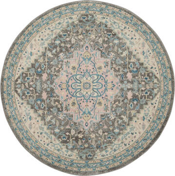 "Nourison Tranquil Grey Round 5'3"" X 5'3"" Area Rug  805-115122"