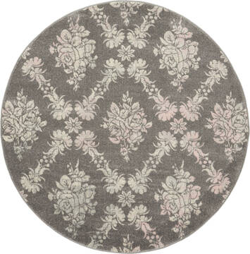 "Nourison Tranquil Grey Round 5'3"" X 5'3"" Area Rug  805-115163"