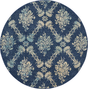 "Nourison Tranquil Blue Round 5'3"" X 5'3"" Area Rug  805-115169"