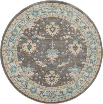"Nourison Tranquil Grey Round 5'3"" X 5'3"" Area Rug  805-115182"