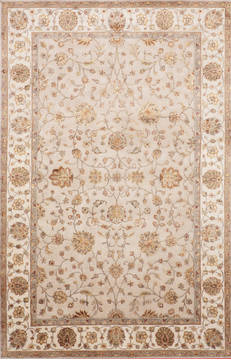 Indian Jaipur Beige Rectangle 6x9 ft Wool and Raised Silk Carpet 115614
