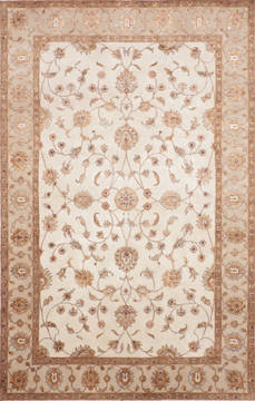 Indian Jaipur White Rectangle 6x9 ft Wool and Raised Silk Carpet 115640