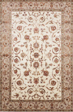 "Jaipur White Hand Knotted 6'1"" X 9'3""  Area Rug 905-115653"
