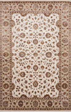 Indian Jaipur White Rectangle 6x9 ft Wool and Raised Silk Carpet 115654