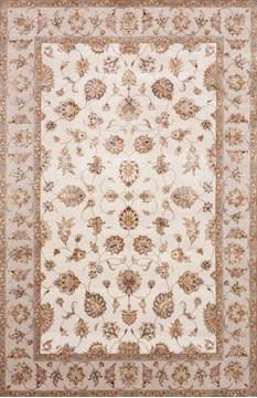 Indian Jaipur White Rectangle 6x9 ft Wool and Raised Silk Carpet 115655