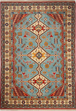 "Kazak Blue Hand Knotted 5'7"" X 7'11""  Area Rug 700-115739"