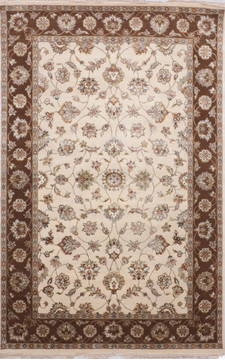 "Jaipur White Hand Knotted 6'0"" X 9'3""  Area Rug 905-115765"