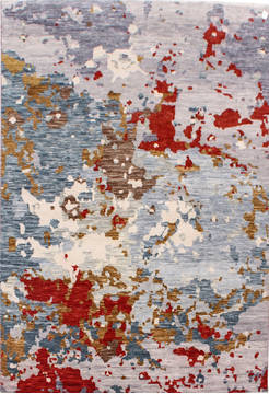 "Modern Multicolor Hand Knotted 6'7"" X 10'1""  Area Rug 904-119763"