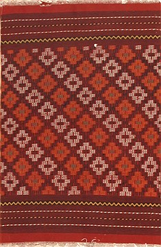 "Kilim Red Hand Knotted 2'2"" X 3'4""  Area Rug 100-12003"