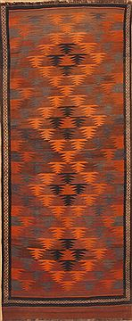 "Kilim Orange Runner Hand Knotted 4'5"" X 10'9""  Area Rug 100-12004"