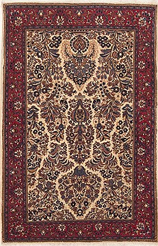 "Sarouk Beige Hand Knotted 3'3"" X 5'1""  Area Rug 100-12015"