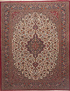"Qum Red Hand Knotted 10'0"" X 13'0""  Area Rug 100-12016"