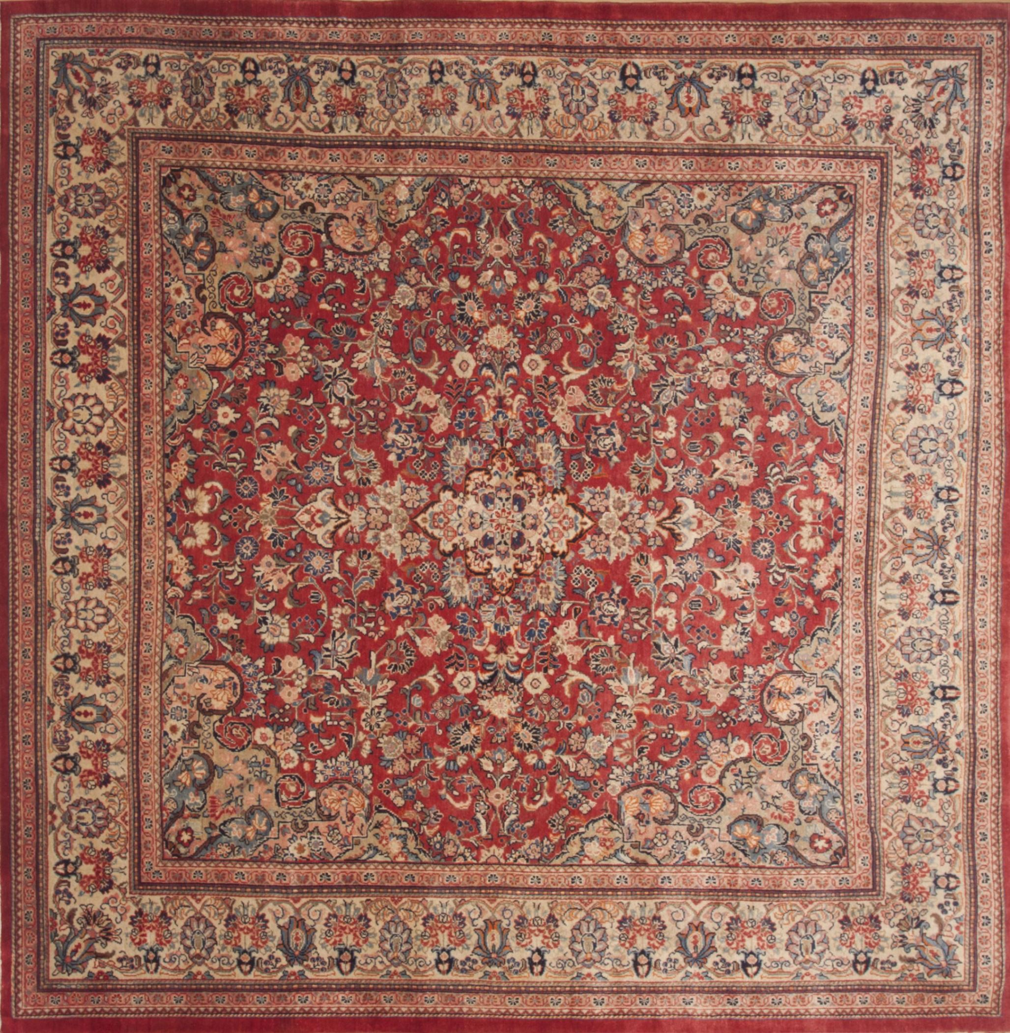 persian moshk abad red square  ft and larger wool carpet  -