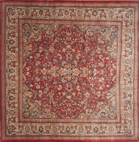 Persian Moshk Abad Red Square 9 Ft And Larger Wool Carpet