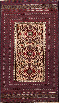 Persian Baluch Beige Rectangle 3x5 ft Wool Carpet 12092