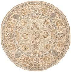 Pakistani Chobi Beige Round 5 to 6 ft Wool Carpet 12102