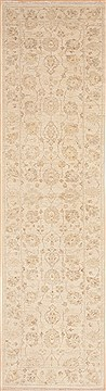 Pakistani Chobi Beige Runner 10 to 12 ft Wool Carpet 12114