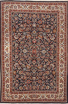 Persian Mashad Blue Rectangle 7x10 ft Wool Carpet 12121