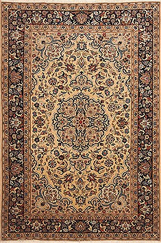 "Yazd Beige Hand Knotted 6'5"" X 9'7""  Area Rug 100-12128"