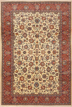 "Sarouk Beige Hand Knotted 6'7"" X 9'11""  Area Rug 100-12134"