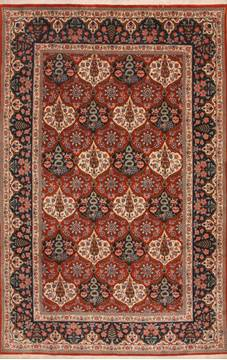 "Bakhtiar Red Hand Knotted 6'3"" X 9'9""  Area Rug 100-12137"