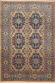 Persian sarouk Blue Rectangle 7x10 ft Wool Carpet 12138