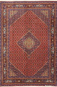 "Ardebil Red Hand Knotted 6'6"" X 9'7""  Area Rug 100-12139"