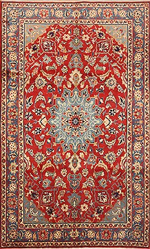 "Najaf-abad Red Hand Knotted 6'2"" X 10'2""  Area Rug 100-12150"