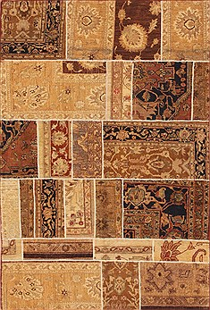 "Patchwork Beige Hand Knotted 4'10"" X 7'4""  Area Rug 100-12159"