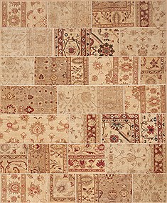 "Patchwork Beige Hand Knotted 8'0"" X 9'9""  Area Rug 100-12189"