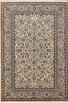 Persian Kashan Beige Rectangle 7x10 ft Wool Carpet 12283