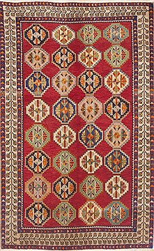 Persian Shiraz Red Rectangle 5x8 ft Wool Carpet 12303