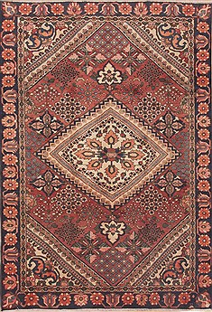 "Bakhtiar Red Hand Knotted 6'3"" X 9'6""  Area Rug 100-12310"