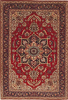 Persian Tabriz Red Rectangle 3x5 ft Wool Carpet 12348