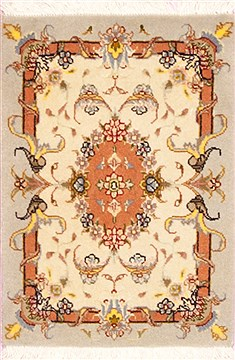 Persian Tabriz Beige Square 4 ft and Smaller Wool Carpet 12360