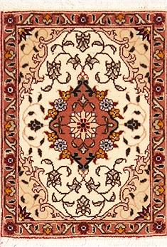 Persian Tabriz Beige Square 4 ft and Smaller Wool Carpet 12361