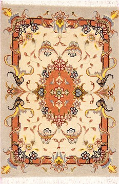Persian Tabriz Beige Square 4 ft and Smaller Wool Carpet 12362